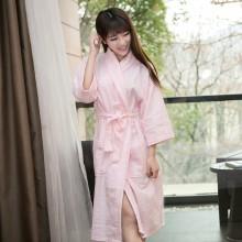 朴寐生活(樸眠).平纹格女士浴袍.粉 P00003073