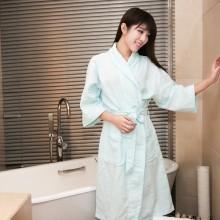 朴寐生活(樸眠).平纹格女士浴袍.蓝  P00003075