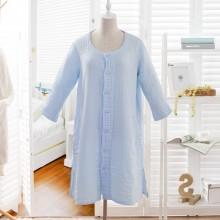 朴寐生活(樸眠).水洗纱布女士家居服.蓝色 P00003082